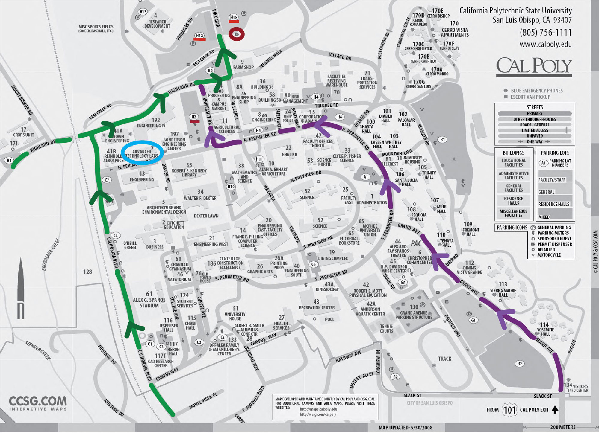 Cal Poly Campus Map - parking